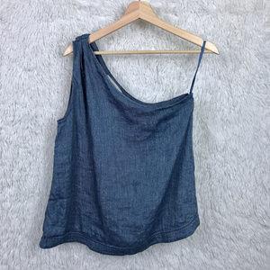 Loft Blue Chambray One Shoulder Blouse Linen Blend
